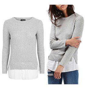 TOPSHOP Ribbed Grey Marled Layered Sweater…